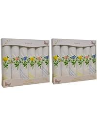 2 paquets de 6 Womens/dames blanches mouchoirs de coton avec des bordures Satin colorés & broderie florale, dans une boîte cadeau