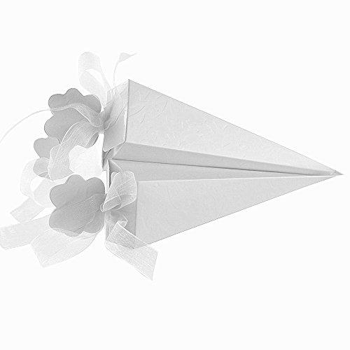 QUMAO 100pz Portariso Scatole Portaconfetti Scatoline Bianco incluso Nastri come Bomboniere Segnaposti per Matrimonio Nozze