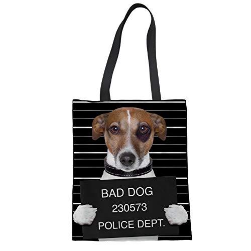Nopersonality Damen Fashion Animal Patern Einkaufstasche Segeltuch leicht, Textil, Bad Dog, Large