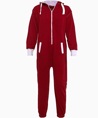 une pièce onesie capuchon zip dames aztèque élégant sweat à capuche à capuche combinaison survêtement Rouge - Bordeaux