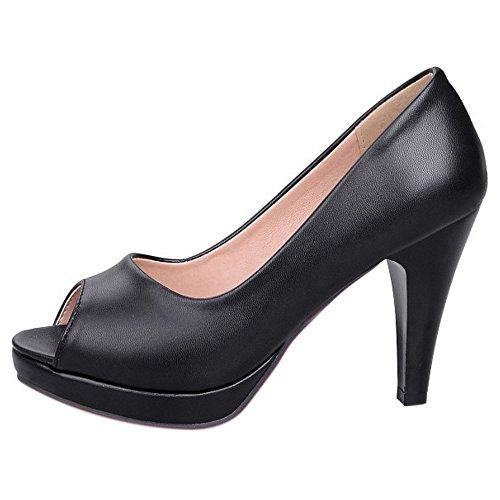 COOLCEPT Damen Mode Slip On Sandalen Peep Toe Trichterabsatz Schuhe Schwarz