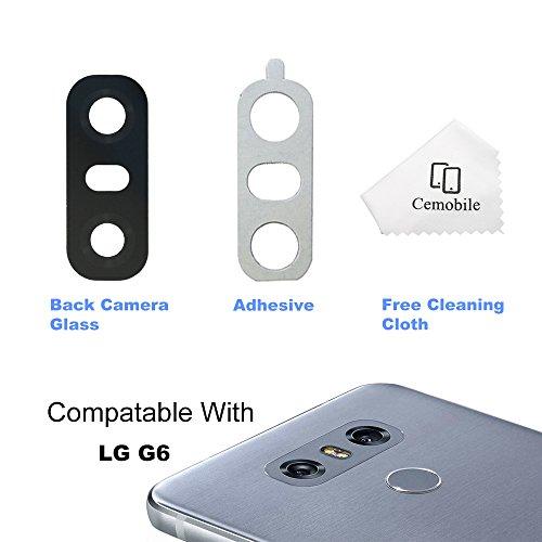 Cemobile Hinter Kamera Glas linse Abdeckung Kameraobjektiv mit Klebstoff Für LG G6 H870 H871 H872 LS993 VS998 (Schwarz)