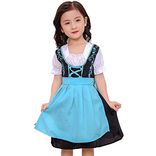 Mädchen Oktoberfest Kostüm Bier - Oktoberfest Kleider,Trachtenkleid Mädchen Kinderdirndl Kinders Oktoberfest München Bier Uniform Outfits Cosplay Kostüm Kleid für Party Halloween Kostüm Kinder