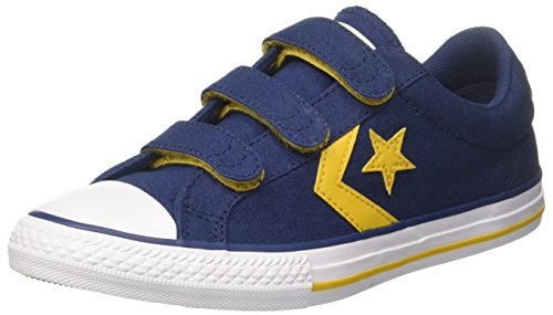 Converse Unisex-Kinder Star Player EV 3V Ox Navy/Mineral Yellow Sneaker, Mehrfarbig (Navy/Mineral Yellow/White), 29 EU