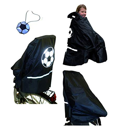 LUNARI Kinder Lucky Cape 4 in 1 Multifunktionaler Regenschutz 4in1 für Fahrradkindersitz Premium, Motiv Soccer, Einheitsgröße