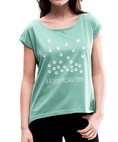 Spreadshirt Katzen Massage Zone Pfotenabdrücke Frauen T-Shirt mit gerollten Ärmeln, M (38), Minze meliert -