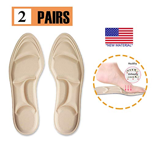 Shoe Insoles Women, Memory Foam Insoles, Cushioning Insoles, Breathable,New Material,5D Sponge Barefoot Comfortable Insole and High Heel Pad for Massage, Arch Pain and Foot Pain Relief