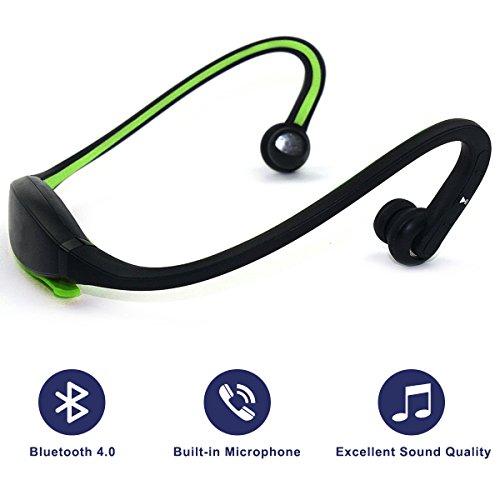 Preisvergleich Produktbild Bluetooth 4.0Kopfhörer, Headset mit Stereo-Klangqualität für Sport, integriertes Mikrofon zum Freisprechen grün
