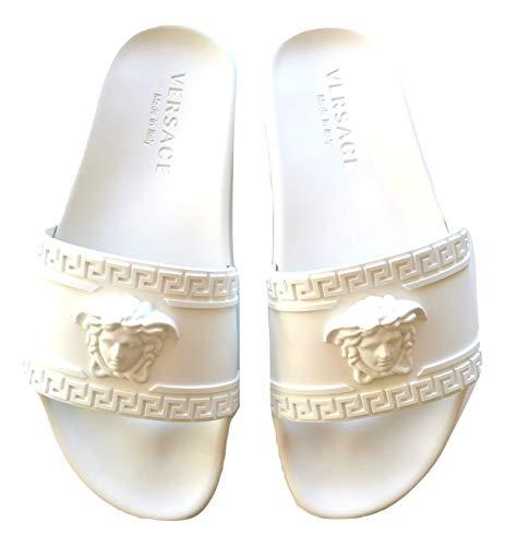 Versace ciabatte sandalo in gomma unisex dsu5883dg09gd01 bianco (39.5 eu)
