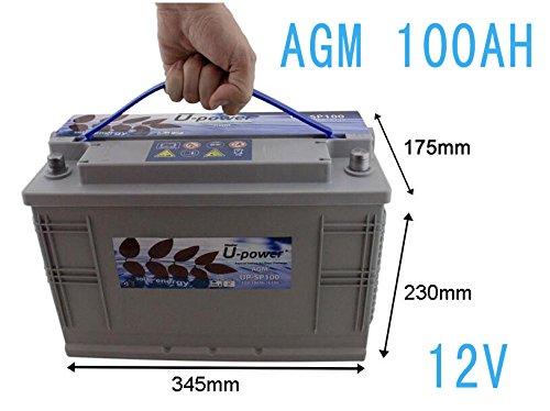 WccSolar Batería AGM SP100AH 12V Ciclo Profundo Battery Solar Fotovoltaica con terminales