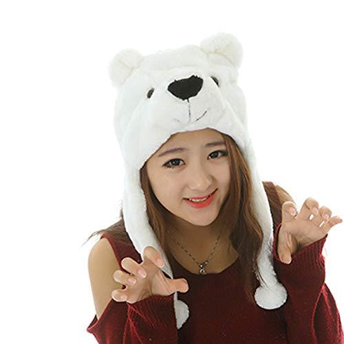 XuBa Cartoon Kinder Plüschhut Kostüm Mütze niedliches weiches Spielzeug Kopfbedeckung eisbär (Eisbär Kostüm Weiblich)