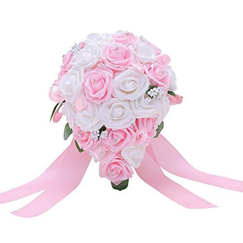 Hochzeitsstrauß einfach Brautstrauß Handgefertigte Schaumblumen Blumensträuße für Hochzeitsaccessoires pink/weiß