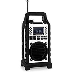 Duramaxx 862 - Radio de Chantier Bluetooth, Tuner AM/FM, Lecteur USB SD MP3, entrée AUX et Batterie intégrée (20 Stations programmables, Robuste, étanche) - Blanc
