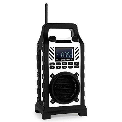 Duramaxx 862-BT WH • Baustellenlautsprecher • UKW-Radio • 20 Senderspeicher • automatische/manuelle Sendersuche • USB • SD • AUX • Bluetooth • Netz- /Akkubetrieb • Lautsprechergitter • weiß
