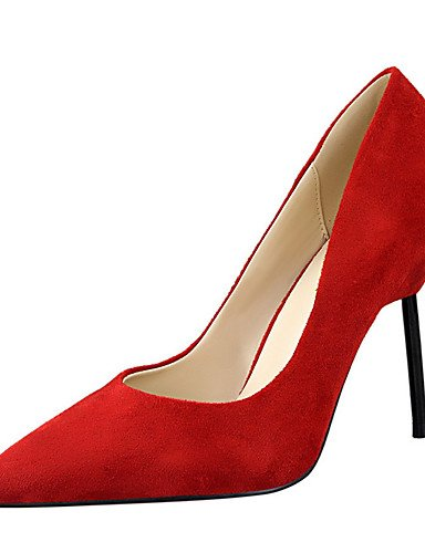 WSS 2016 Chaussures Femme-Extérieure / Habillé-Noir / Rose / Rouge / Gris / Kaki-Talon Aiguille-Talons-Talons-Laine synthétique gray-us5 / eu35 / uk3 / cn34