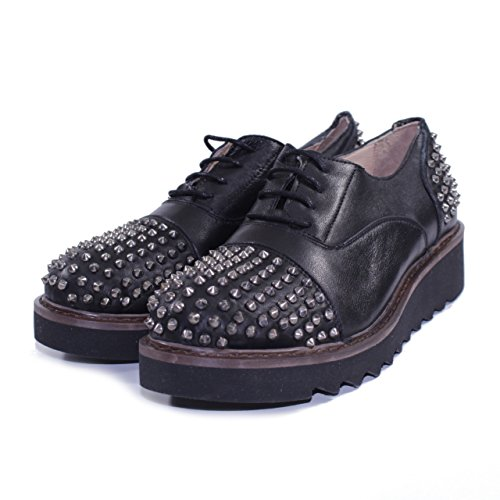 TIURAI SCARPE BASSE STRINGATE CON BORCHIE MADE IN ITALY GENETIC NERO Nero