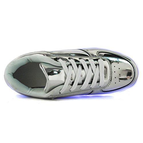 (Présents:petite serviette)JUNGLEST® Chaussures de Sports Baskets Lacet LED Clignotante avec 7 couleurs USB Rechargeable Lumineux PU Cuir verni Or A Argent