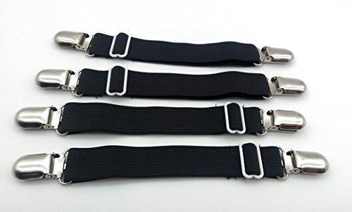 Angelkiss 4er-Pack Verstellbare Elastische Bettlakenspanner Betttuchspanner Spannbettlakenhalter mit Metallklammern für Bettlaken und dünne Bettdecken (schwarz) Test