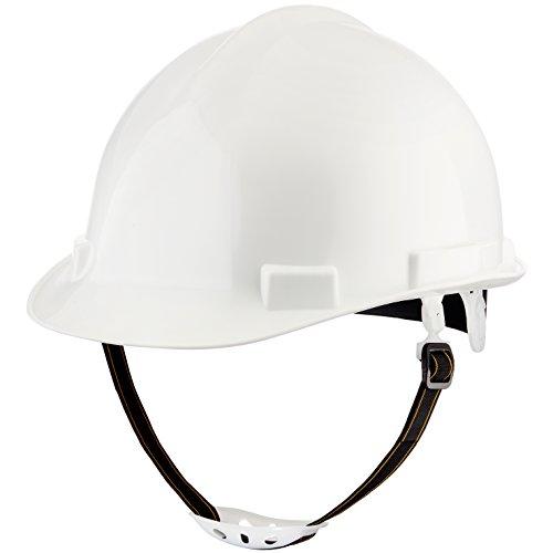 Professioneller Schutzhelm von NoCry | Sicherheitshelm mit verstellbarem 4-Punkt-Gurtband, 5 cm Sonnenschutz-Krempe und flexiblem Kinnriemen | Weißer Bauhelm (Schutzhelm Mit Kinnriemen)