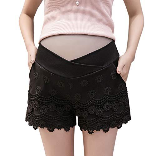 Yudesun Frauen Mutterschaft Kurze Hosen - Schwangere Damenmode Mit Niedriger Taille Stretch Baumwolle Lässig Weiche Reine Spitze Elegante Leggings Shorts - Niedrige Taille Kurze