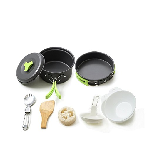 AKUKA Portable Outdoor Camping Cookware Set Anodized Aluminum Non-Stick Pot Frying Pan Cooking Set with Carrying Bag for 1-2 Person