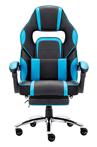 IntimaTe WM Heart Racing Stuhl, Gaming Stuhl mit Hoher Rückenlehne, Ergonomischer Bürostuhl aus Kunstleder, Chefsessel mit Taillenstütze und ausziehbarer Fußstütze, Blau