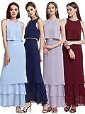 Ever Pretty Frauen Elegantes zweiteiliges ärmelloses Lang geschichtetes Brautjungfernkleid 38 Größe Burgundy