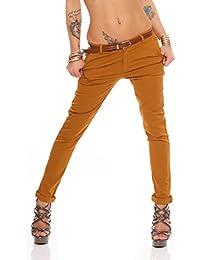 72424bc97deb7c Fashion4Young Damen Skinny Chino Pant Hautenge Treggings Stretch-Stoff  Damenhose mit Gürtel