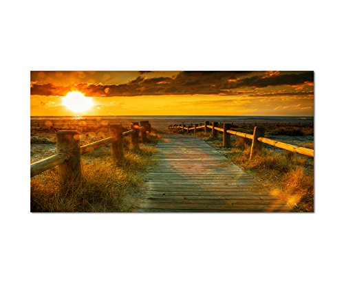 120x60cm - Fotodruck auf Leinwand und Rahmen Sonnenuntergang Strand Meer Steg - Leinwandbild auf...