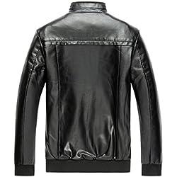 FeN Abrigos de los Hombres, Cuero de la PU Jacke Cuello de Soporte de Color Sólido Prendas de Vestir Exteriores Delgado Casual Turismo Cómodos Tops Negro (Color : 1, Tamaño : SG)
