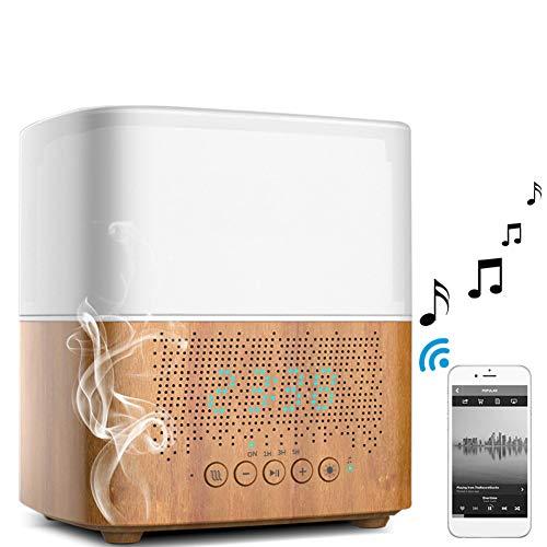 NFY Wecker Bluetooth Speaker mit Luftbefeuchter Lampe, Portable Lautsprecher Wireless Subwoofer mit Colorful LED-Licht