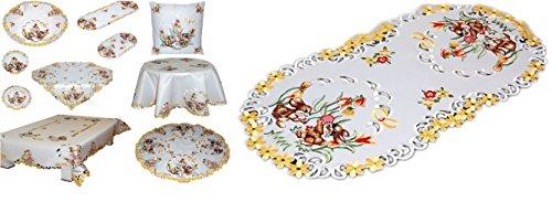 Niedliche Tischdecke 35x70 cm oval OSTERN champagner HELL OSTERHASE mit Blüten gestickt Osterdecke Ostertischdecke (Tischläufer 35x70 cm oval)