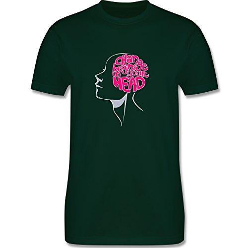Statement Shirts - Change begins in your head - Herren Premium T-Shirt Dunkelgrün