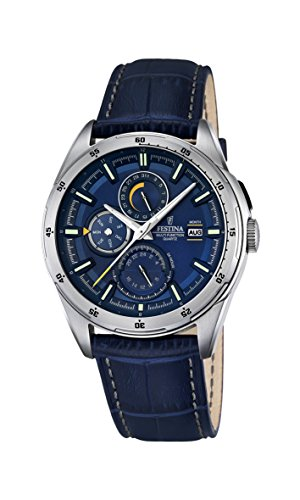 Festina Men's Quartz Watch with Blue Dial Analogue Display and Blue Leather Strap F16877/2