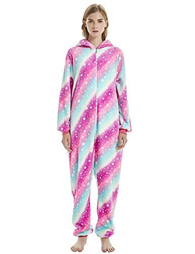 ShiyiUP Einhorn Schlafanzug Jumpsuit Erwachsene Kinder Pyjama Karneval Halloween Kostüm mit Kapuzen,3#,S