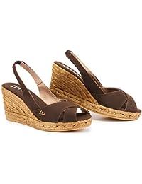 Zapatos de esparto VISCATA de cuña de 5 cm con elástico en la parte trasera, punta abierta, fabricados en España