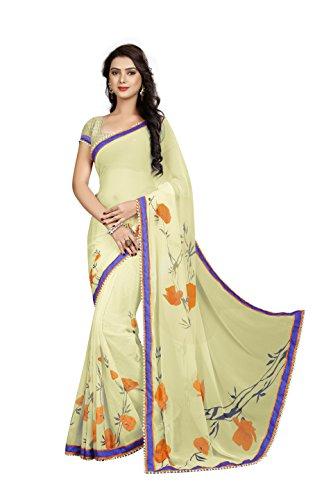 Janasya Women's Cream Printed Chiffon Saree With Lace Border - JNE1858-SR-595CREAM  available at amazon for Rs.899