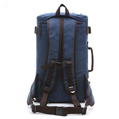 &ZHOU Borsa di tela, Uomini e donne borsa a tracolla viaggio di grande capacità, multi-purpose borsa borsa Messenger bag zaino di tela , coffee color deep blue