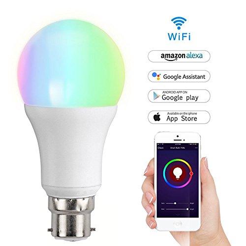 Lampadina WiFi Smart Meamor, illuminazione LED wireless, funziona con Amazon ALEXA, domotica di luce notturna, luce bianca calda dimmerabile, funziona senza hub (1 confezione), 7W B22 Dimmable Soft Warm White 7.0 watts