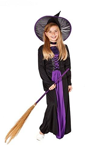 Hexenkostüm Halloween für Kinder - zauberhaftes komplettes Kostüm Hexe lila-schwarz für Mädchen (122/128) (Zauberhafte Hexe Kind Kostüme)