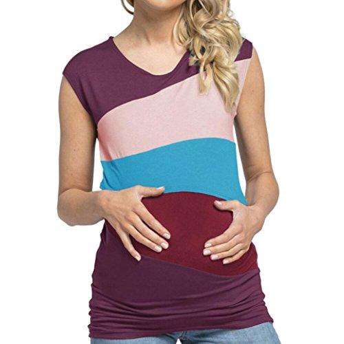 URSING_Damen Still Umstands-Top Lagendesign Farbblock-Design Ärmellos Doppelschicht Bluse T-Shirt Umstandsmode Umstandsshirt Schwangere Stillshirt Mutterschaft Umstandstop (XL, Lila)