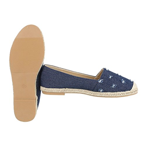 Ital-Design Slipper Damenschuhe Low-Top Blockabsatz Moderne Halbschuhe Blau HJ88-32