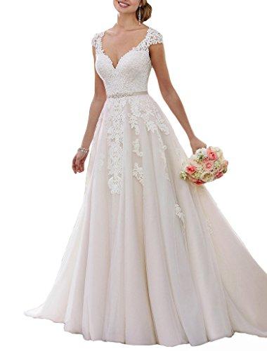 DUMOO A Linie Tüll Spitze Hochzeitskleider Prinzessin Lang Brautkleider mit Kappe Sleeves Weiß 44