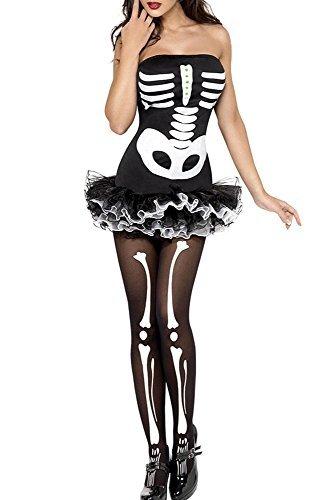 Damen Skelett/Knochengerüst Halloween Kostüm Kleid und Strumpfhosen Größe 38-40