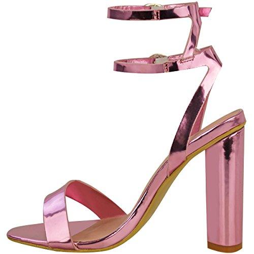 Sandales à talons hauts - très fines/brides/éléments métalliques - femme Rose pastel métallisé/chromé