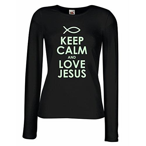 angen Ärmeln T-Shirt Liebe Jesus Christus, Christliche Religion - Ostern, Auferstehung, Geburt Christi, Religiöse Geschenkideen (Medium Schwarz Fluoreszierend) (Religiöse T-shirts)
