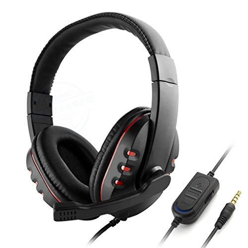 Gaming Headset mit Kabel, Kopfhörer für Works, für PC, PS4, Laptop, Xbox One, Nintendo Switch-Spiele, Computerspiel Gamer Over Ear Flexible Mikrofon-Lautstärkeregelung mit Mikrofon (Color : Red) - Wireless Headset Blueparrott