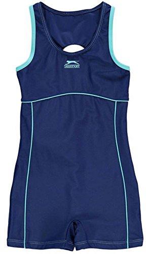 Girls Slazenger Boyleg Swimsuit Mesh Lining Swimming Costume Shorts Style Legs (11-12 Yrs, Blue/Blue Radia)