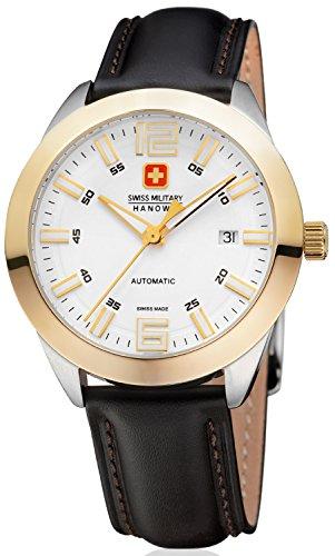 Swiss Military Hanowa Pegasus Herren-Armbanduhr Analog Automatik mit schwarzem Lederband Gehäuse gelbgold Zifferblatt weiss/gelbgold 05-4185.55.001