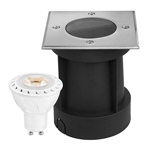 LED Bodeneinbaustrahler Set mit LED GU10 Markenstrahler von LEDANDO - 7W - 530lm - warmweiß - eckig - IP65 - Blende Edelstahl 316 - belastbar 1t - 50W Ersatz - 30° Abstrahlwinkel - A+ [Bodeneinbauleuchte Bodenleuchte Bodenlampe]